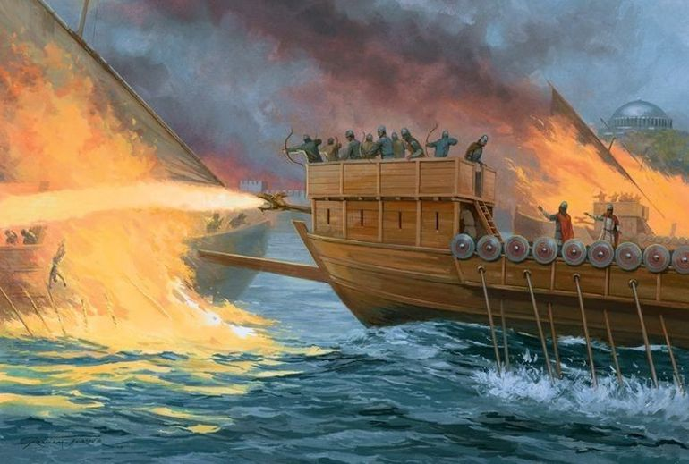 Eastern Roman fireship attacking an Arab ship, circa 718 AD.